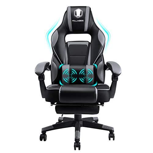 FANTASYLAB KILLABEE Massage Gaming Stuhl PU Leder mit Hoher Rückenlehne PC Racing Computer Schreibtisch Büro...