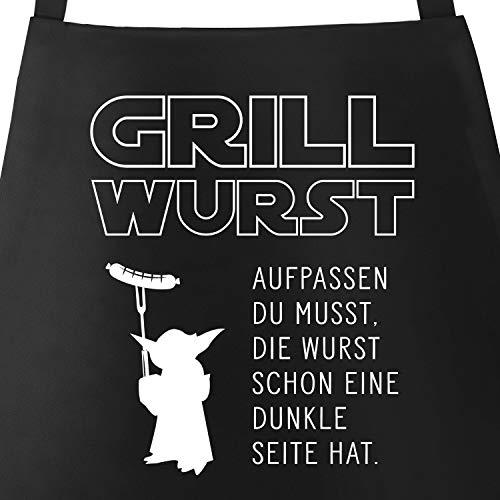 MoonWorks Grill-Schürze für Männer mit Spruch Grill Wurst Aufpassen du musst, die Wurst Schon eine dunkle...