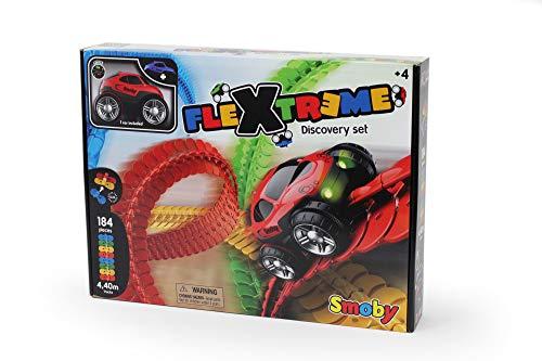 Smoby – Flextreme Autorennbahn Starter Set – 184 Schienen + Rennauto, Rennbahn für Autos, für Kinder ab...