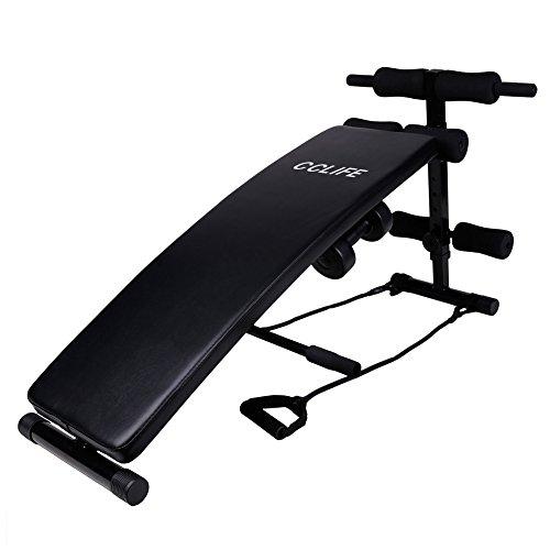 CCLIFE Sit Up Bank Trainingsbank Bauchtrainer Rückentrainer Klappbar verstellbar mit 2 Hanteln Seilen