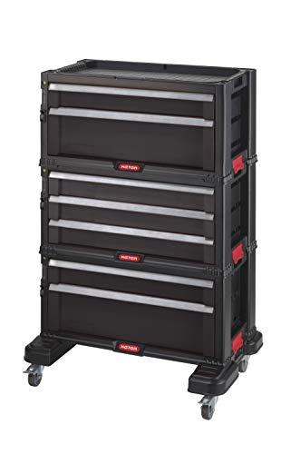 Keter | Modulwagen mit 7 Schubladen, Schwarz, 56,2 x 28,9 x 74,2 cm, Kunststoff