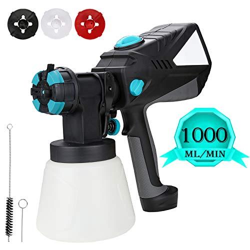Hengda Farbsprhsystem 600W, Elektrische Farbspritzpistole 1000ML/MIN mit 3 Spritzmuster und 4 Dsengren,...