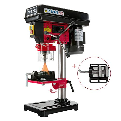 Arebos Tischbohrmaschine   mit integriertem Positionslaser   500 W   inkl. 16mm Zahnkranzbohrfutter und...