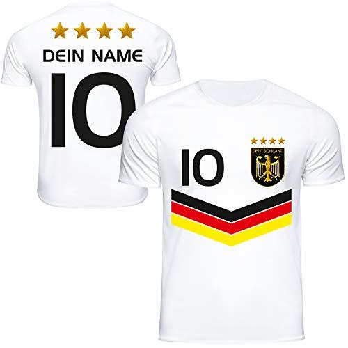 DE FANSHOP Deutschland Trikot mit GRATIS Wunschname + Nummer #DV2 2021/2022 EM/WM Weiss - Geschenk für Kinder...