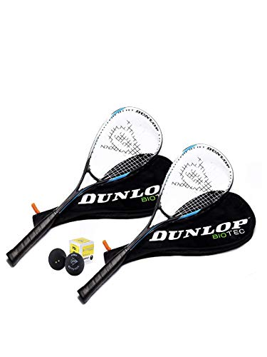 Dunlop Biotec Max Ti squashset 2x Squash racket  + 3x ballen & 2x Hoezen
