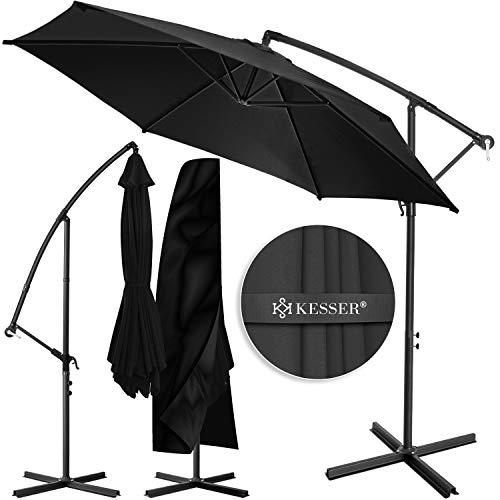 KESSER® Alu Ampelschirm Sonnenschirm Ø 350 cm mit Kurbelvorrichtung UV-Schutz Aluminium Wasserabweisende...