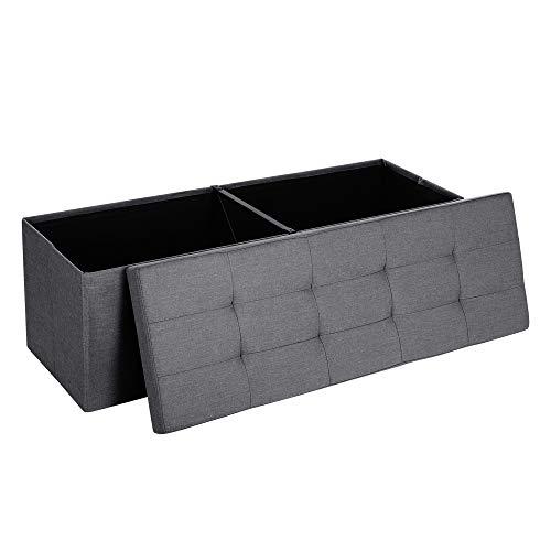 SONGMICS Sitzbank mit Stauraum, Sitztruhe, Aufbewahrungsbox, faltbar, max. statische Belastbarkeit 300 kg, mit...