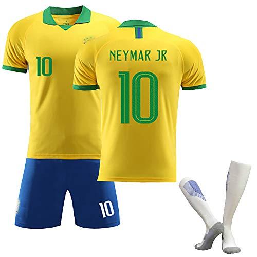 Kinder-Erwachsenen-Fußball-T-Shirt, Neymar JR-Fußballtrikot, Brasilien 2020 Neuestes Auswärtstrikot-Trikot,...