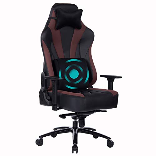 Wolmics Großer Gaming-Stuhl mit Massage-Lordosenstütze,Sitzende Erinnerung, Metallfuß und Armlehne aus...
