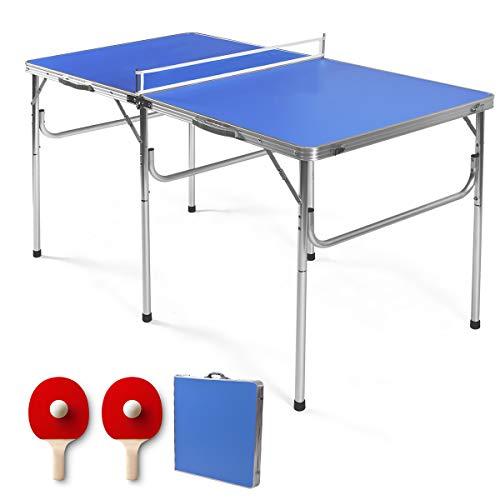 RELAX4LIFE Tischtennisplatte mit Netz, Tischtennistisch mit 2 Bällen & 2 Schlägern, klappbarer Tisch für...