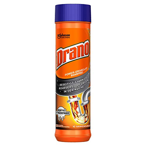 Drano (Mr Muscle) Power-Granulat Rohrfrei Abflussreiniger, entfernt Rohrverstopfungen in der Küche, 10...