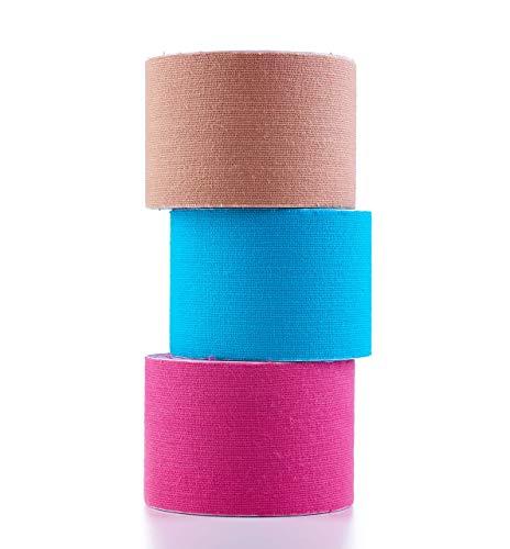Herolio Kinesiotapes im Set, latexfrei, elastisch, wasserfest, Set aus 3 Rollen (3 x 5cm x 5m) Pink, Blau,...
