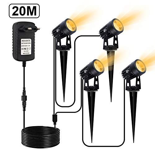 LED Gartenbeleuchtung, CHINLY 3W Gartenleuchten, LED-Gartenscheinwerfer mit zusätzlichem 20 m Kabel und...