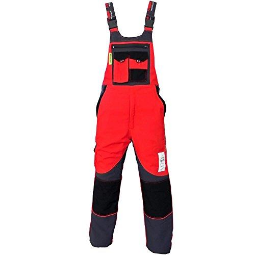 WOODSafe® Schnittschutzhose Klasse 2, kwf-geprüfte Forsthose, Latzhose rot/grau, Herren - Waldarbeiterhose...