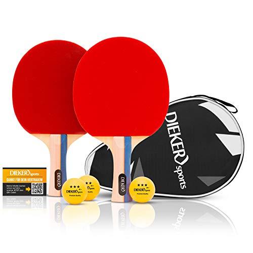 PREMIUM Tischtennis Schläger Set von Dieker Sports - 2 Tischtennisschläger Profi + 3x3 Stern hochwertige...