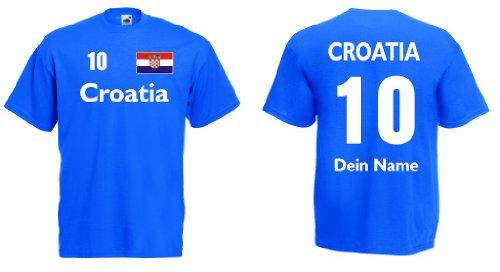 Fruit of the Loom Croatia/Kroatien Trikot mit Wunschname und Wunschnummerroyal XL