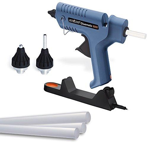 Steinel Heißklebe-Pistole Gluematic 5000, Ladestation, Abtropfschale, kabellos, inkl. 5 Klebesticks 11 mm und...