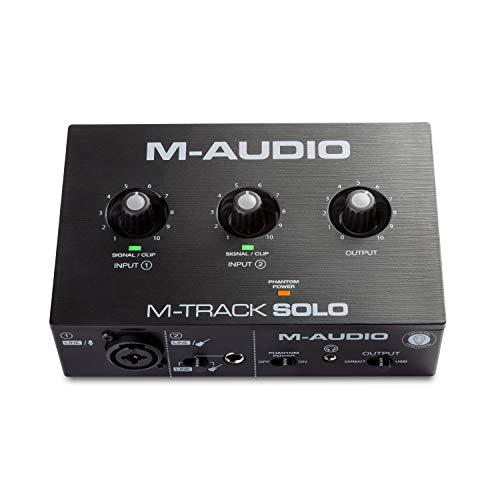 M-Audio M-Track Solo – USB Audio Interface für Aufnahmen, Streaming und Podcasting, mit XLR-, Line- und...