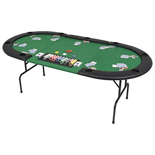 Festnight- Pokertische 9-Spieler 3-Fach Faltbar Oval Grün