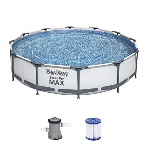 Bestway Steel Pro MAX Aufstellpool-Set mit Filterpumpe Ø 366 x 76 cm, grau, rund