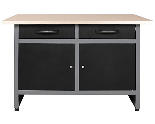 Ondis24 Werkbank Werktisch 120cm, Montagewerkbank 2 kugelgelagerte Schubladen & 2 abschließbare Türen, 32mm...