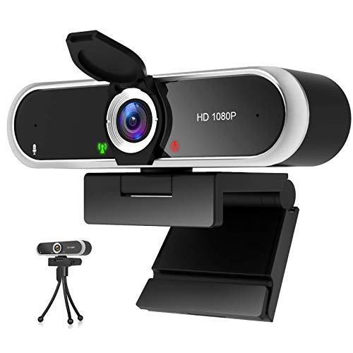 Webcam 1080P mit Mikrofon und Webcam Abdeckung, Stativ, Plug & Play, mit automatischer Lichtkorrektur, für...