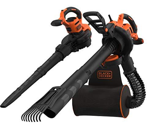 Black+Decker 3-in-1 Elektro Laubsauger & Laubbläser (3.000 Watt, mit Häcksler + aufsteckbarem Laubrechen,...