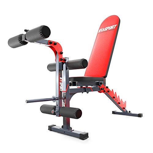 K-Sport Trainingsset: Hantelbank + Beincurler I Komfortable Fitnessbank für Kurz- & Langhanteltraining I...