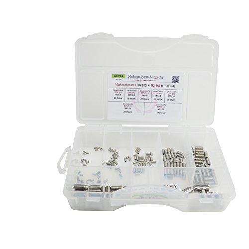 Sortiment/Set Edelstahl Madenschrauben DIN 913 - M2 bis M8 - VA A2 V2A - Gewindestifte mit Kegelkuppe - 170...