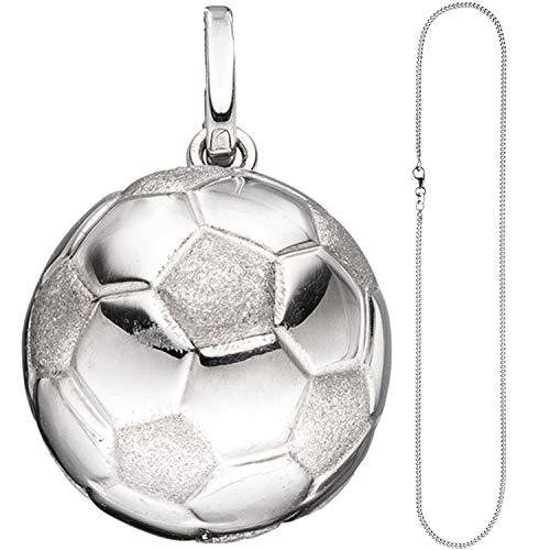 JOBO Kinder Anhänger Fußball 925 Silber Fußballanhänger mit Kette 38 cm
