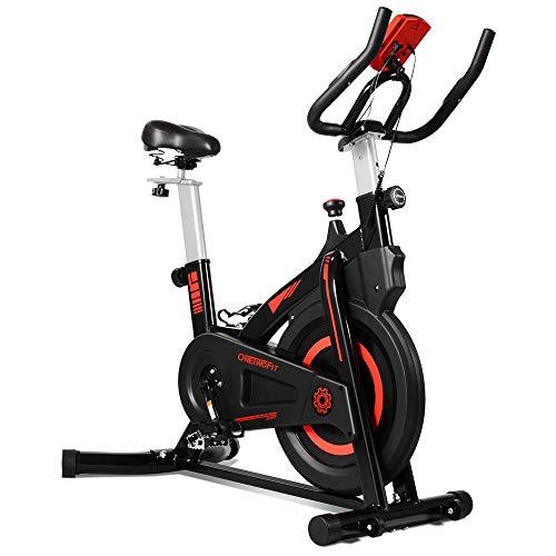 ONETWOFIT Indoor Cycling Heimtrainer Cardio Bike mit verstellbarem Lenker & Sattel, LCD Display...