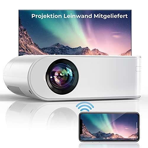 YABER WiFi 7000 Lumen Mini Beamer 1080P Full HD Tragbar Video Beamer [Beamer leinwand einschließen] mit 250'...