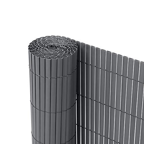 Ribelli® PVC Sichtschutzmatte Sichtschutzzaun Sichtschutz Zaun Balkon Windschutz (90 x 300 cm, Anthrazit)