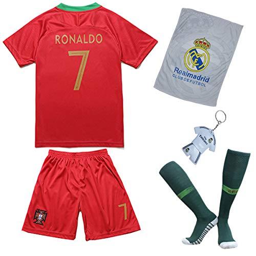 Portugal Ronaldo Trikot Set #7 Heim 2018/19 Kinder Fussball Trikot Mit Shorts und Socken Kinder (9-10 Jahre)