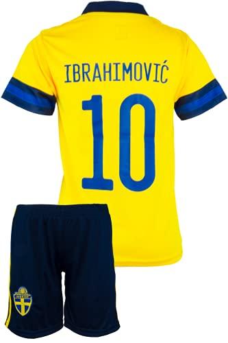 StoneMale 2021 Schweden Heim Zlatan Ibrahimović #10 Kinder Trikot Europäische Nationalmannschaften (164,...