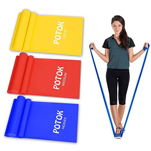 Potok Fitnessbänder 3er-Set für Fitness, Reha, Gymnastik und Physiotherapie   Leicht   Medium   Stark -...