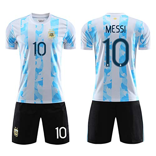 Argentinien besticktes Teamwappen Trikot Nr. 10 Messi Away Neymar Brasilien Nationalmannschaft Uniformen...