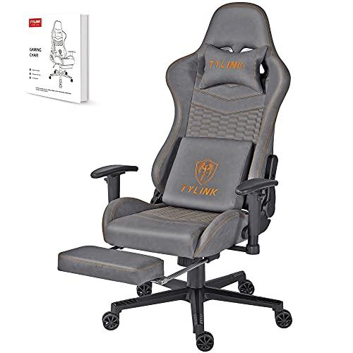 TYLINK Gaming Stuhl, Gaming Chair Sessel PC Racing Ergonomischer Stuhl Gamer Stühle Bürostuhl, Einstellbare...