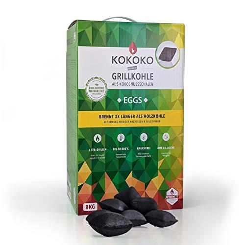 KOKOKO EGGS Grillkohle von McBrikett, 8kg, Ideal für Dutch Oven, Kugelgrill, Weber & Watersmoker, Bio Kokos...