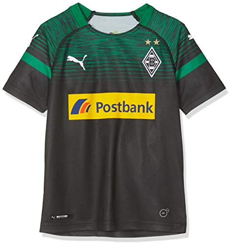 PUMA Kinder BMG Away Replica with Sponsor Logo Trikot, Black/Power Green, 164