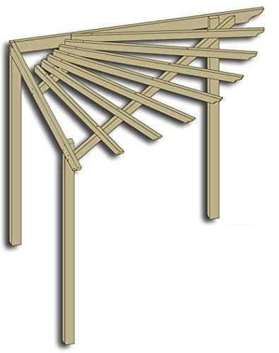 Eckpergola 240 x 240 x 220 cm Pergola aus Holz für Terrasse Gartenecke von Gartenpirat®