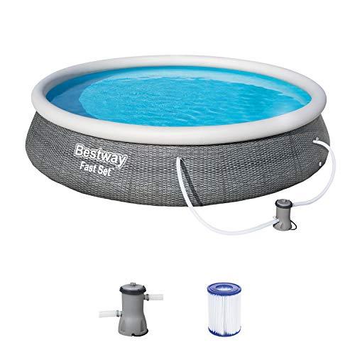 Bestway, 396 x 84 cm, Rattanoptik Fast Pool 396x396x84 cm, Gartenpool Set selbstaufbauend mit aufblasbarem...