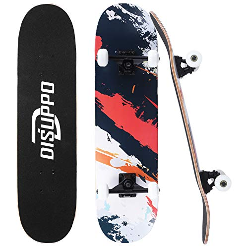 DISUPPO 31 'x 7,8' Pro Skateboards, komplettes Skateboard, 7-lagiges A-Level Maple Double Kick Concave...