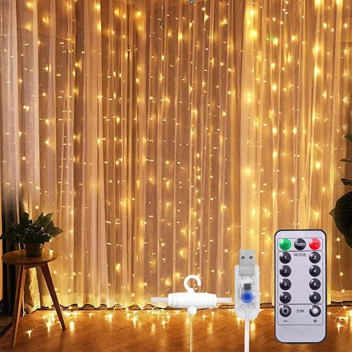 SUNNEST LED Lichterketten Lichtervorhang 300 LEDs USB Vorhanglichter String Light 8 Modi mit Fernbedienung...