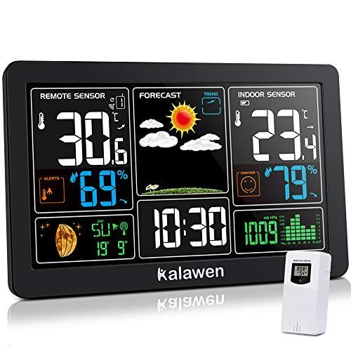 Kalawen Wetterstation mit Außensensor Innen und Außen 9-IN-1 Wireless Digital Wecker Barometer Weather...