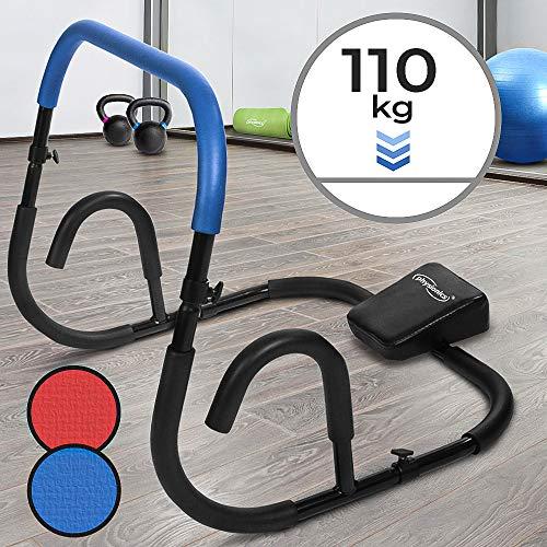 Physionics Bauchtrainer - Blau/Rot, für Sit Ups, mit Rutschfesten Griffflächen (Max. 110kg) - Ab Trainer,...