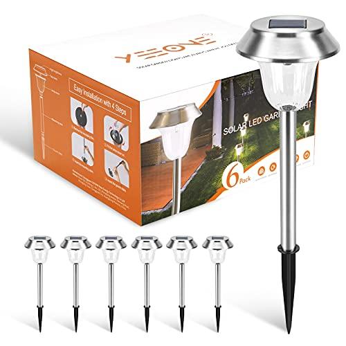 6 Stück Solarleuchten Garten , IP65 wasserdichte LED Garten Solarlampen für Außen, 12 Stunden lang...