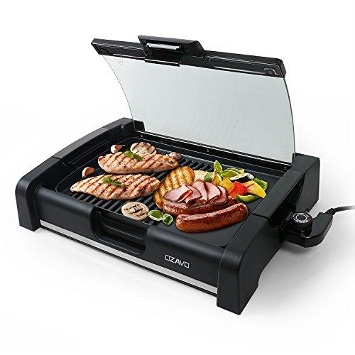 OZAVO BBQ Tischgrill mit Glasdeckel, Elektrogrill, Barbecue elektrisch Grillfläsche, Grillpaltte 1650Watt,...