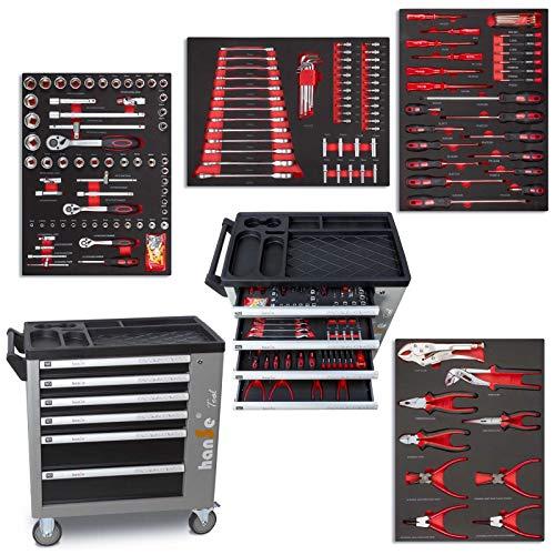 hanSe® Werkstattwagen Montagewagen gefüllt 745-teilig Werkzeug Werkstatt Werkzeugwagen