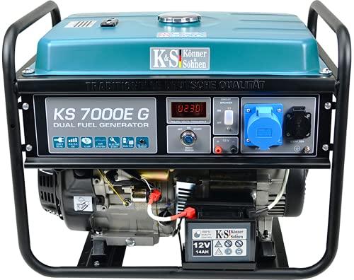 Könner & Söhnen KS 7000E G - Hybrid Benzin-LPG 4-Takt Stromerzeuger,Kupfer Generatoren 5500...